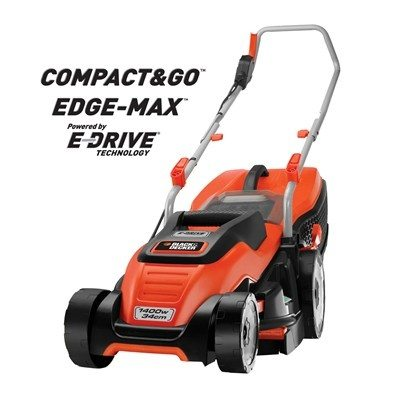 Black & Decker EMAX34I EdgeMax 1400W 34cm Electric Lawnmower with Compact & Go