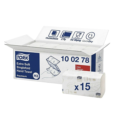 Tork 100278 Premium Extra Soft Singlefold 2 Ply White Paper Hand Towel
